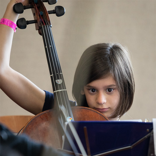 Young female cello player
